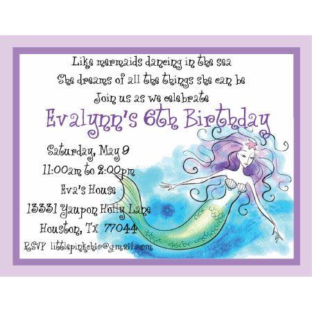 mermaid invitation wording mermaid birthday Pinterest