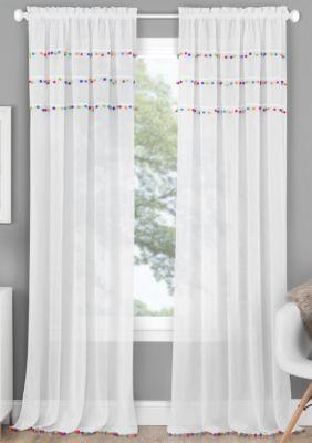 Achim Pom Pom Rod Pocket Window Curtain Panel Bright 63 71 In 2020 Curtains Panel Curtains Playroom Curtains