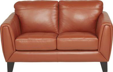 Livorno Papaya Leather Sofa Leather Loveseat Love Seat Leather Sofa