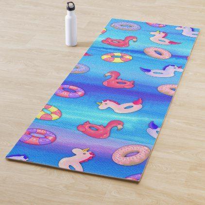 Cute Artsy Pink Blue Pool Floaties Watercolor Yoga Mat Zazzle Com Blue Pool Pool Floaties Floaties
