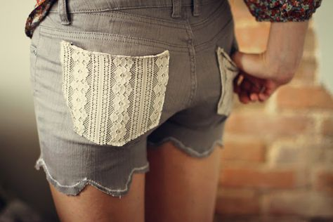 Jean into shorts makeover with scalloped edges and lace pockets.