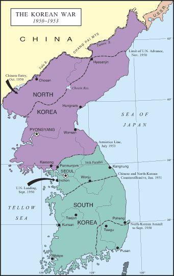 Map Of The Korean War 1950 1953 Korean War War Cold War