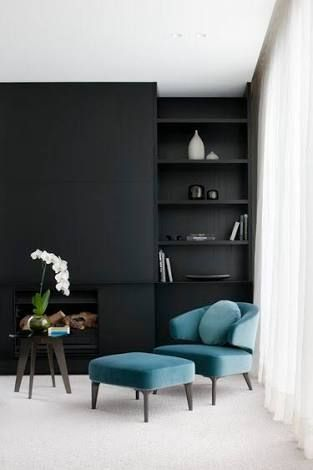 Black Is A Dramatic Backdrop For A Room Allowing The Most Delicate