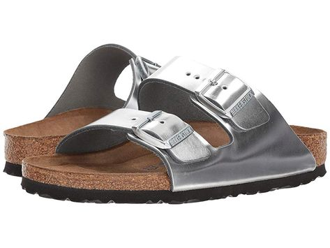 fd76e7bc5 Birkenstock Arizona Soft Footbed Women s Sandals Metallic Silver Leather