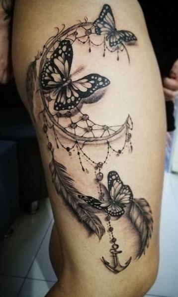 Cute Thigh Tattoos, Hip Tattoos Women, Shoulder Tattoos For Women, Dope Tattoos, Dream Tattoos, Sleeve Tattoos For Women, Leg Tattoos, Dreamcatcher Tattoo Thigh, Butterfly Thigh Tattoo