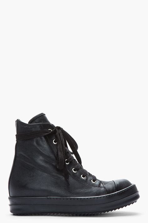 Visions of the Future: RICK OWENS Black Leather Zip Ramones Sneakers