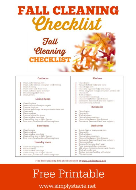 Fall Cleaning Schedule with Free Printable | Blogger Home Projects ...
