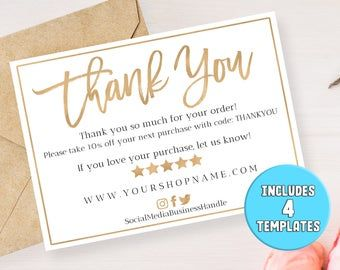 Business Thank You Cards Instant Download Business Card Etsy Business Thank You Cards Business Thank You Download Business Card