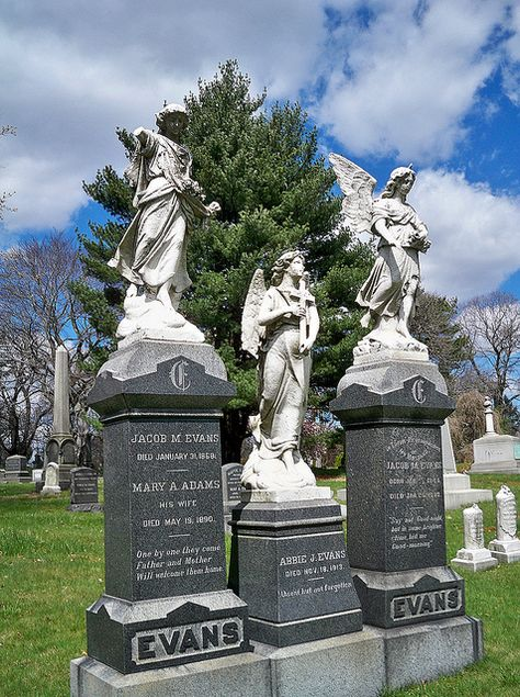 """Evans Trio ~ The epitaphs on these three gravestones, starting at the left: Gravestone #1: """"One by one they come / Father and Mother / Will welcome them home."""" Gravestone #2: """"Absent but not forgotten"""" Gravestone #3: """"Say not Good-night, / but in some brighter / clime bid me / Good-morning"""". Green-Wood Cemetery, Brooklyn, New York"""