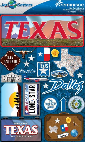 Jet Setters Dimensional Stickers-Texas