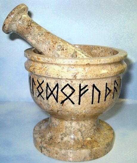 Runic Mortar and Pestle x on Fossilized Stone All deep engraved 24 Rune symbols and finished in Black enamel