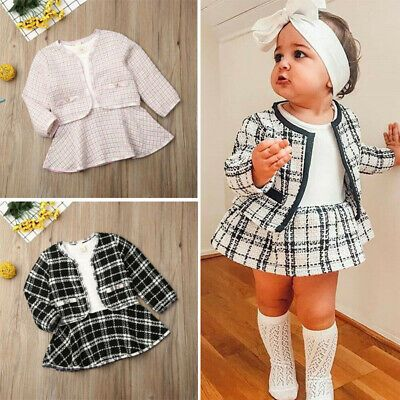 US Winter Toddler Baby Girl Clothes Plaid Coat Tops+Tutu Dress Formal Outfit Set