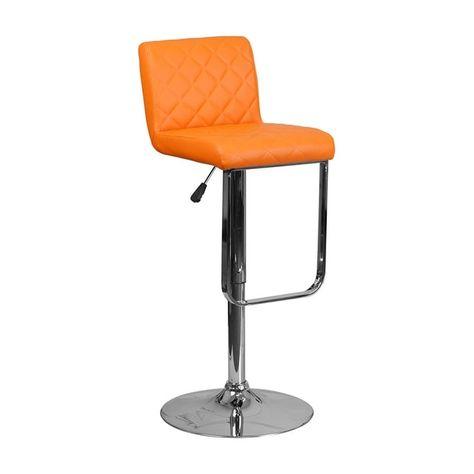 Outstanding Offex Contemporary Orange Vinyl Adjustable Height Swivel Machost Co Dining Chair Design Ideas Machostcouk