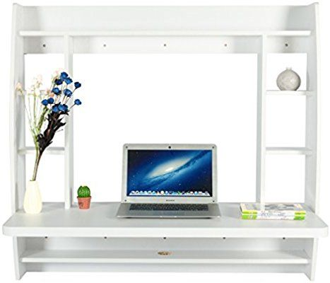 Amazon Com Edencomer Fsc Certified Wall Mounted Floating Desk Home Office Computer Desk With Storage Shelves White Kitchen Dining Home Office Computer Desk