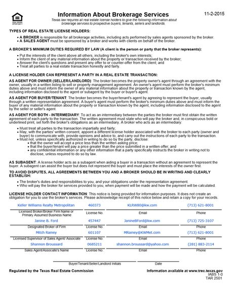 Texas Real Estate Commission Consumer Protection Notice Texas - commission sales agreement