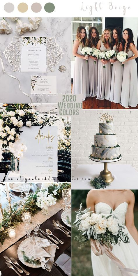 elegant light beige and champagne wedding colors for 2020 wedding events