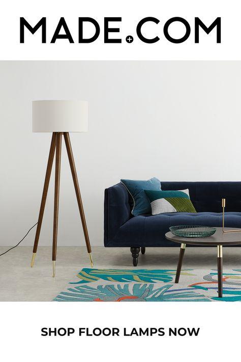 Bree Turned Wood Tripod Floor Lamp Dark Wood White In 2020 Tripod Floor Floor Lamp Tripod Floor Lamps