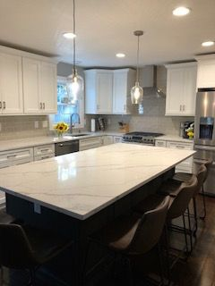 Calacatta Quartz Counters With Matching Backsplash With Images