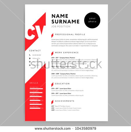Creative Cv Resume Template Red Color Background Curriculum