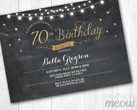 70th Birthday Invitation Elegant Party Seventy Chalk Womens Instant Download Editable Printable Personalize Lights Digital Print