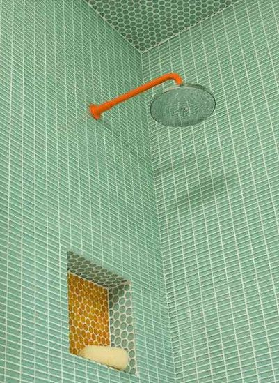 Tile Style - Kate Arends has a *thing* for modern furniture, dishware, and home finishes. We particularly love the hardware and the citrus palette of this tiled shower!