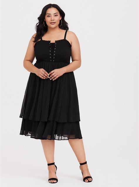 Black Chiffon Tiered Midi Dress | Midi dress plus size, Plus