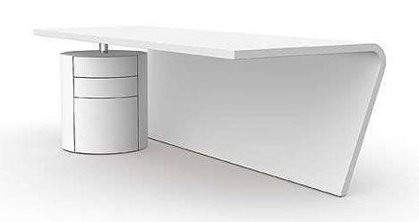 the arc desk, modern white office desk #furniture #officedesk