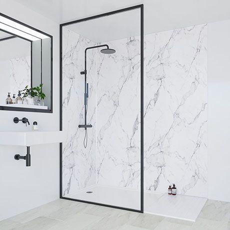 Multipanel Linda Barker Calacatta Marble Bathroom Wall Panel Bathroom Wall Panels Marble Shower Walls Shower Wall Panels