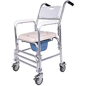 Commode Shower Chair With Wheels Steel Folding Bedside Commode