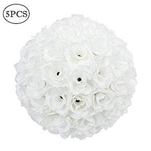 Z Ztdm 10 Inch Artificial Romantic Rose Flower Ball Bouquet For Home Outdoor Wedding Party Centerpieces Decorations 5pcs White Walmart Wedding Flowers Silk Flowers Wedding Wedding Party Centerpieces