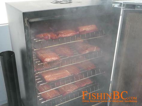 Smoked salmon smoking in Bradley Smoker