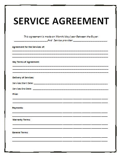 General Contract For Services Template Free Printable Documents Service Agreement Templates Contract Template Service Contract Template