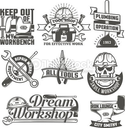 Set Of Vintage Logos To Repair Workshop Tool Shop Or Something The Woodworking Tools List Woodworking Tools Router Woodworking Workshop