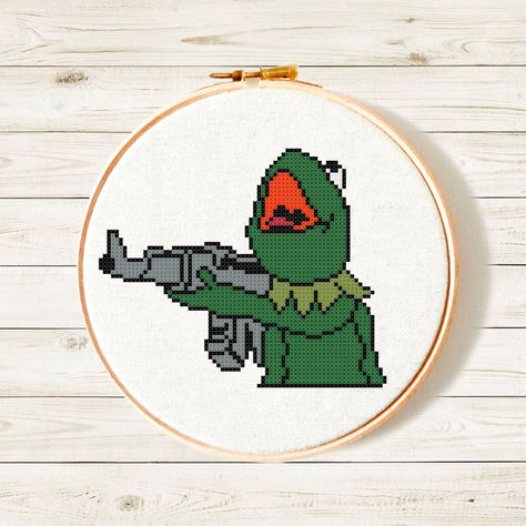 Kermit funny cross stitch pattern • Kermit frog meme PDF • Easy embroidery pattern • Not My Business crossstitch