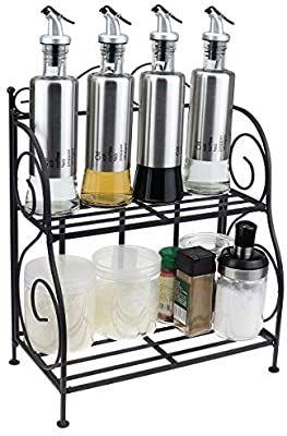 2 Tier Spice Rack Organizer Black Wrought Iron Folding Kitchen Seasoning Storage Holder Black