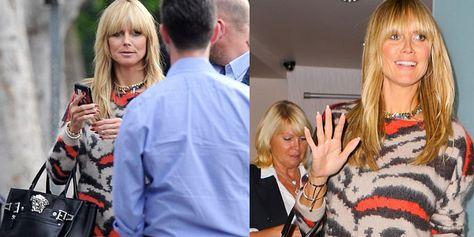 ordina online piuttosto economico classico Heidi Klum in maglione animalier, un look che sfiora l'eccentrico ...
