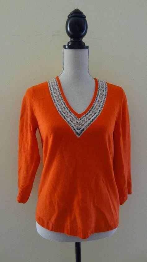 J.Crew Women's Fair Isle Sweater V-Neck Lambswool Red Size Medium ...