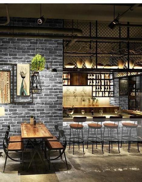 Industrialdecor Restaurant Design Rustic Faux Brick Wallpaper Cafe Interior Design