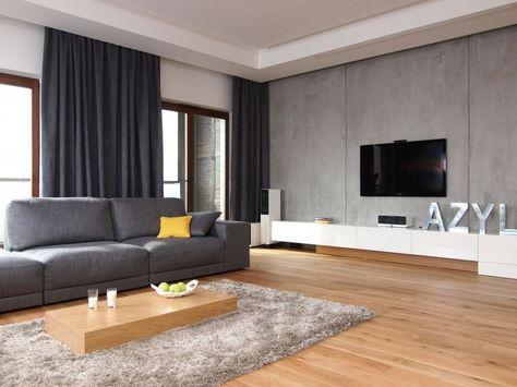 Wandgestaltung in Betonoptik und Holzbodenbelag Wohnzimmer - wohnzimmer schwarz rot