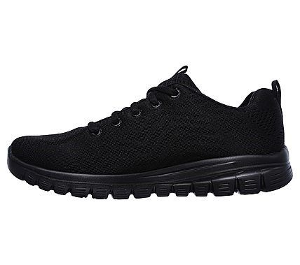 black skechers lace up trainers