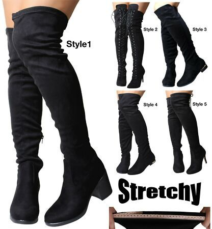 Womens Black Heel Suede Stretch Wide