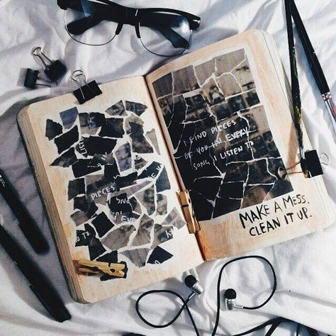 """#journalseries #wreckthisjournal #wtj #vsco #vscocam #art #vscoph #Page49: #Make #a Page49: Make a mess. Clean it up """"I find pieces of you in every song I listen to"""""""