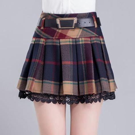 9af510d7df0f Grid Pleated Woolen Skirt SE9368 in 2019 |
