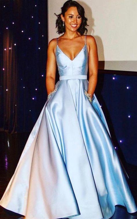 7147e7a9604 Gorgeous Light Ssky Blue Long Prom Dress Satin Evening Dress Formal ...