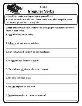 2nd Grade Wonders Unit 4 Week 3 Grammar Second Wonders 4 3 Irregular Verbs In 2021 Past Tense Worksheet Middle School Grammar Worksheets Irregular Verbs Past tense verbs worksheets grade
