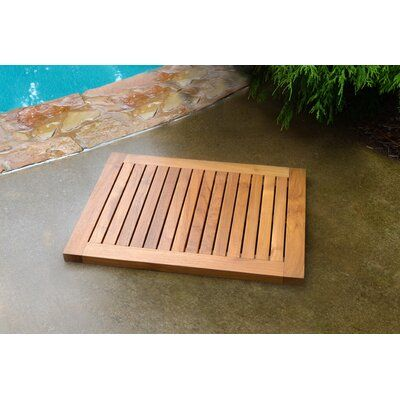 Rebrilliant Lassiter Teak Indoor Outdoor Shower Mat In 2020 Outdoor Shower Kits Outdoor Bathtub Hot Tub Deck
