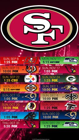 San Francisco 49ers 2019 Mobile City Nfl Schedule Wallpaper
