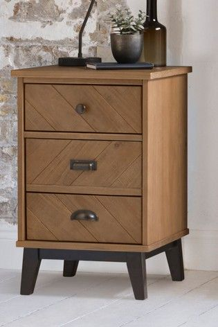 Buy Hoxton Chevron 3 Drawer Bedside Table From The Next Uk Online