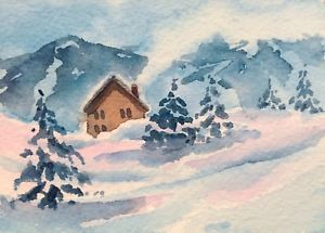Original Watercolor Landscape Painting Snowy Mountain Ski Lodge