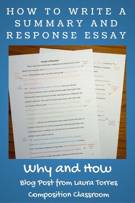 Summary And Response Writing Essay Summary Writing